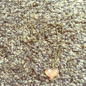 Vintage Pink Frosty Heart Necklace